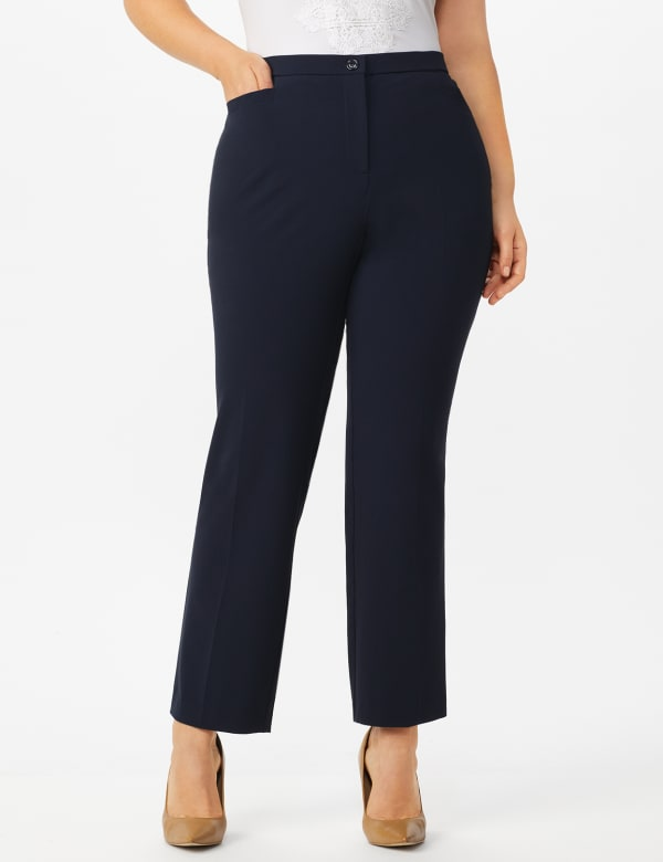 Plus Roz & Ali  Plus Secret Agent Trouser  Pants with Cat Eye Pockets & Zip - Navy - Front