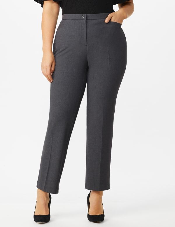 Plus Roz & Ali  Plus Secret Agent Trouser  Pants with Cat Eye Pockets & Zip - Grey - Front