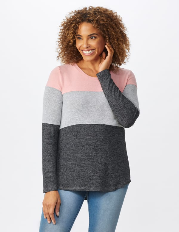Westport Sweater Knit Color Block Top - Pink/Grey - Front