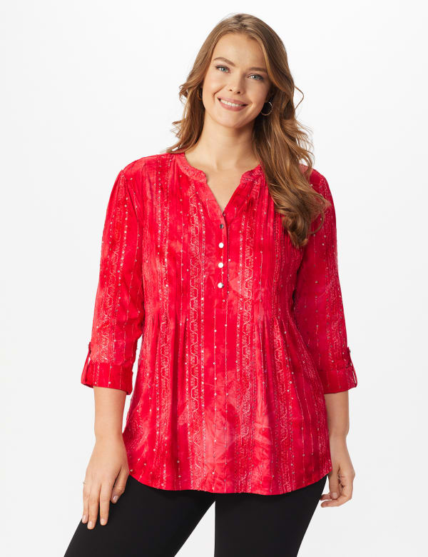 Roz & Ali Red Sequin Tie Dye Popover - Plus - Deep Red - Front