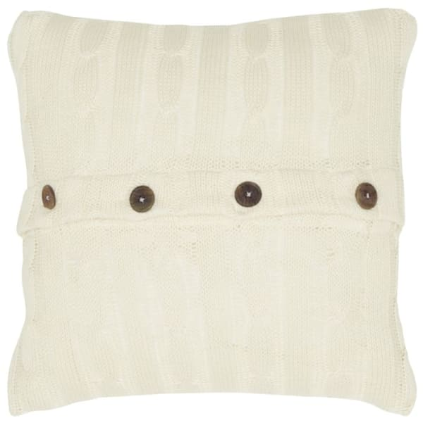 Cable Knit Ivory Pillow Cover - Beige - Front