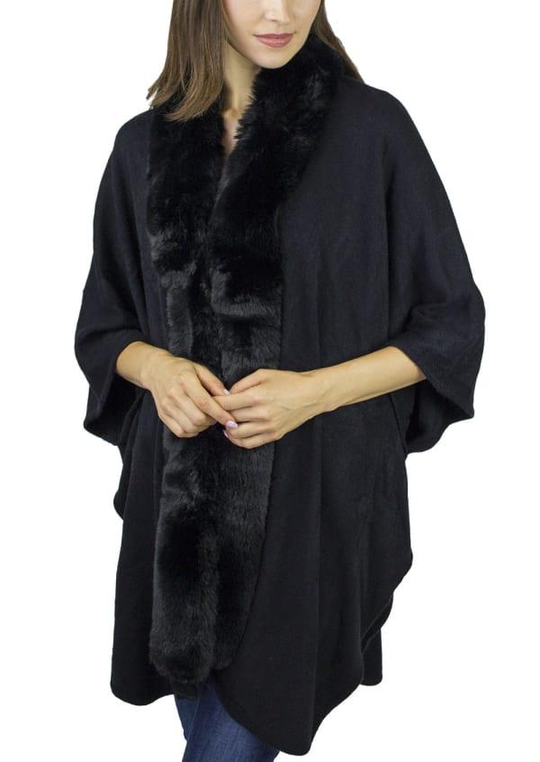 Knit Kimono w/Faux Mink Trim - Black / Black - Front