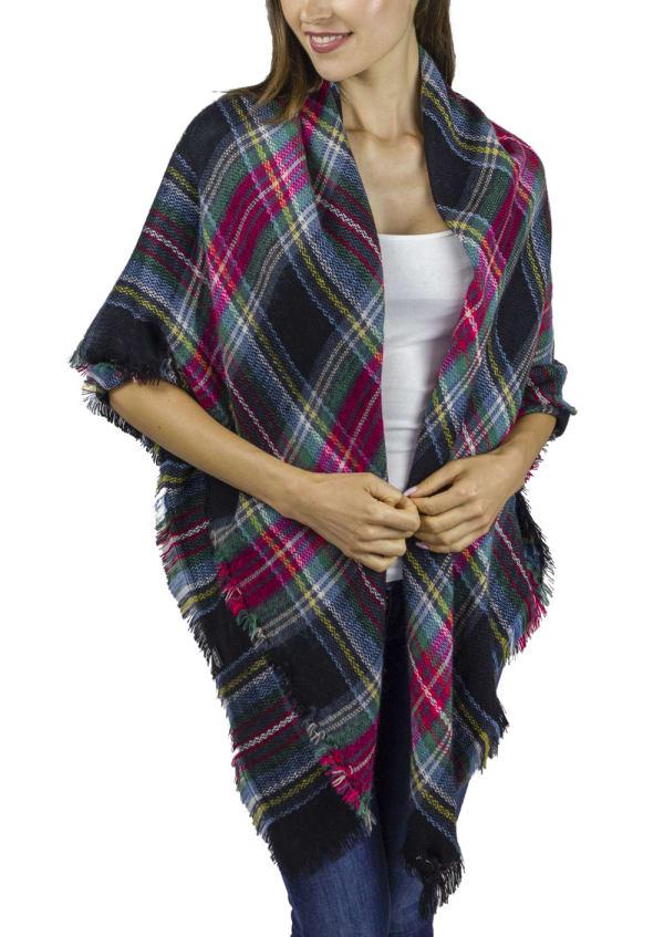 Oversize Plaid Blanket Wrap - Black - Front