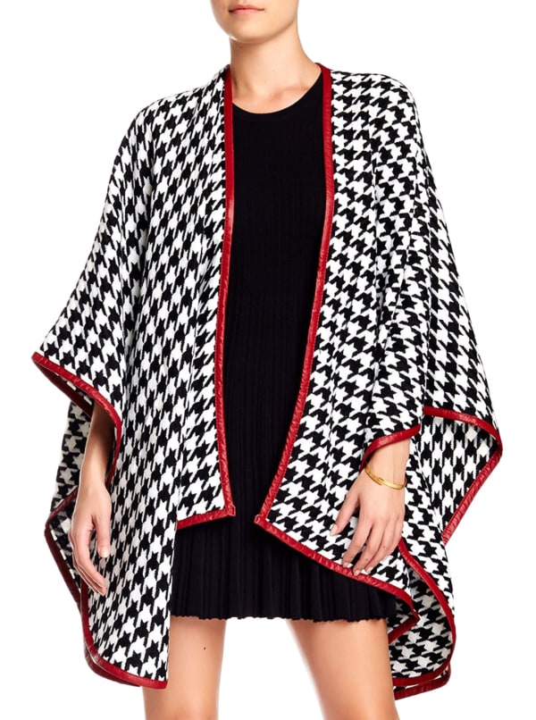 Houndstooth Ruana W/Red Trim