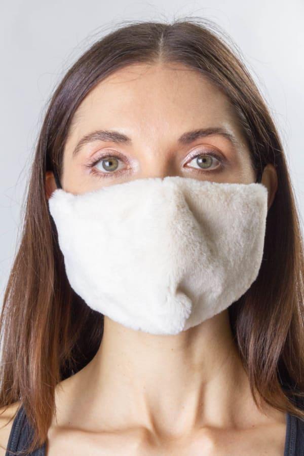 Faux Fur Mask - Ivory - Front
