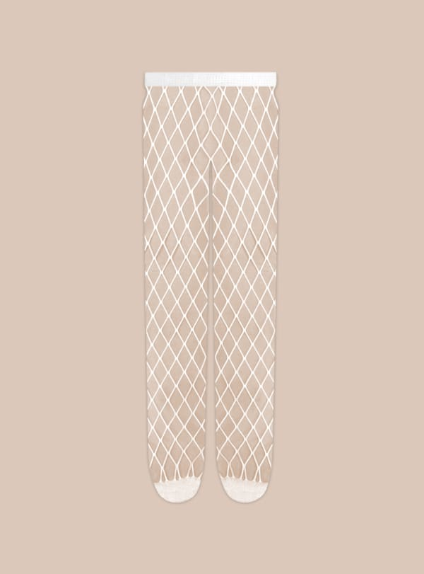 'Caught Up' Large Fishnet Tights Socks - White - Front