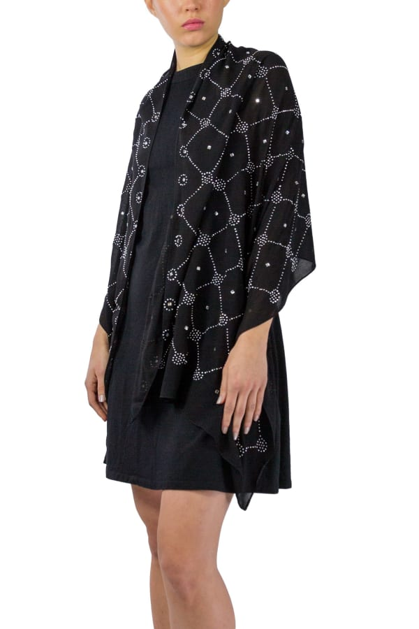 Box Pattern Shawl -Black / Silver - Front