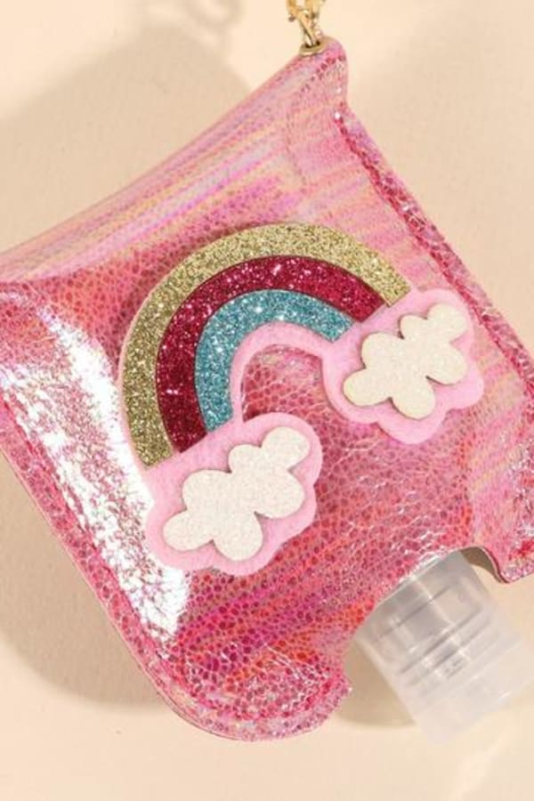 Rainbow Glitter Leather Kids Mini Sanitizer Holder - Pink - Front