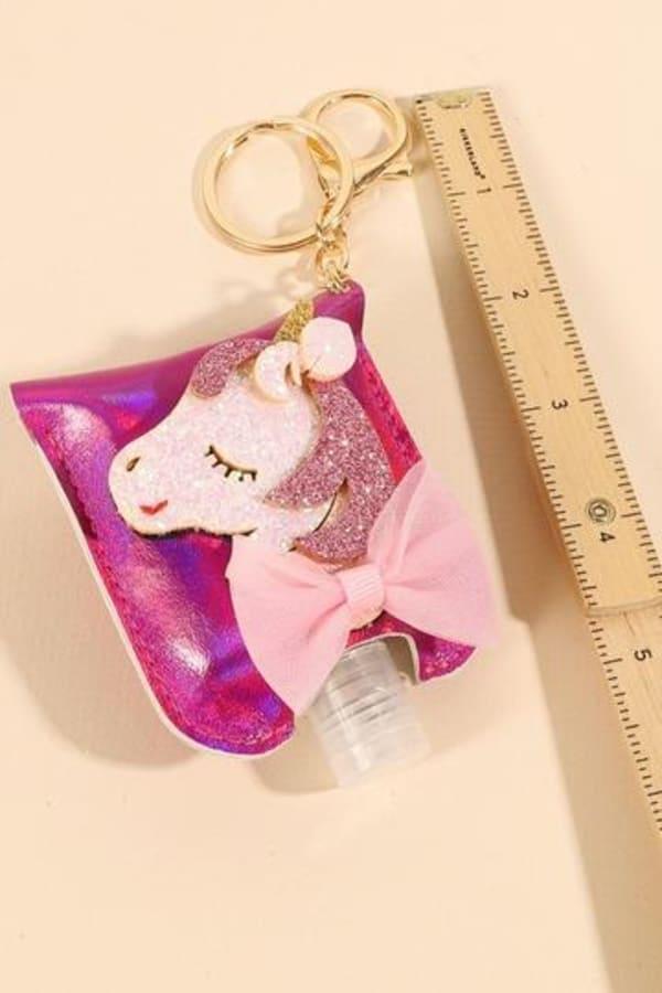 Unicorn Glitter Leather Kids Mini Sanitizer Holder - Fuchsia - Front