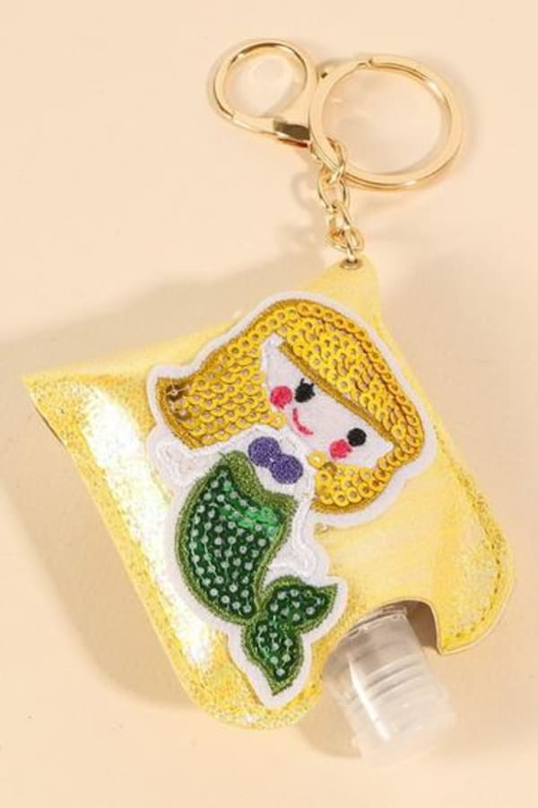 Mermaid Sequins Leather Kids Mini Sanitizer Holder - Yellow - Front