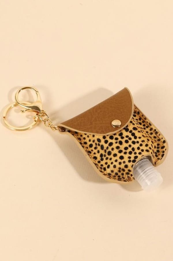 Animal Print Calf Hair Mini Sanitizer Holder