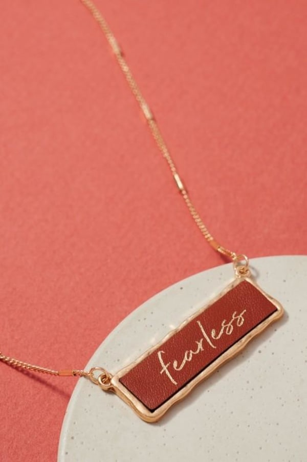 Fearless Inspirational Charm Necklace - Brown - Front