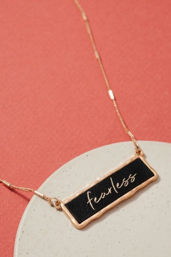 Fearless Inspirational Charm Necklace - Black - Front