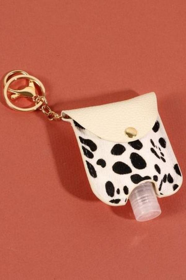 Animal Print Calf Hair Mini Sanitizer Holder - Cheetah White - Front