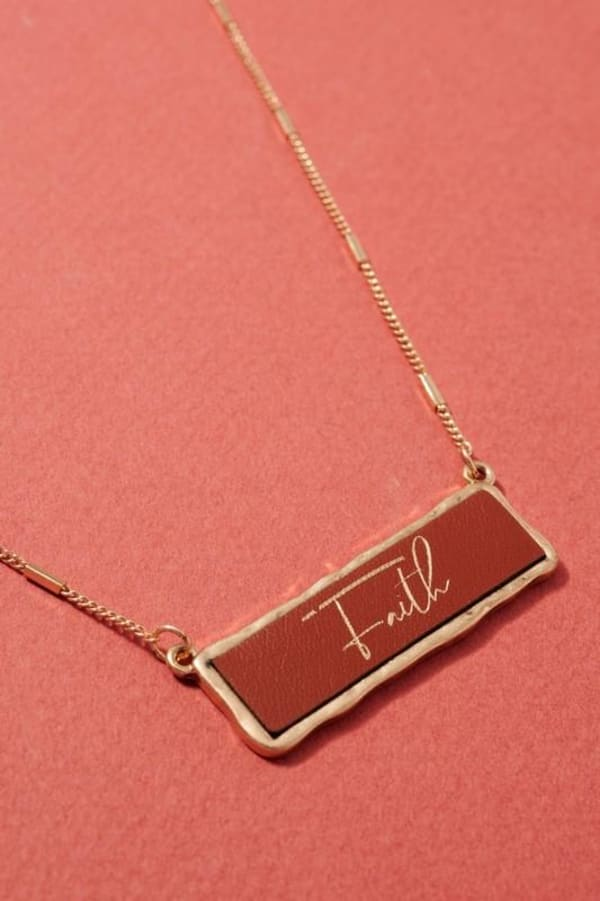 Faith Inspirational Charm Necklace - Brown - Front