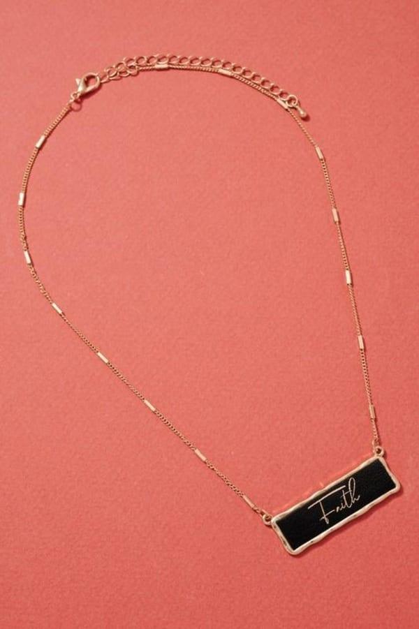 Faith Inspirational Charm Necklace - Black - Front