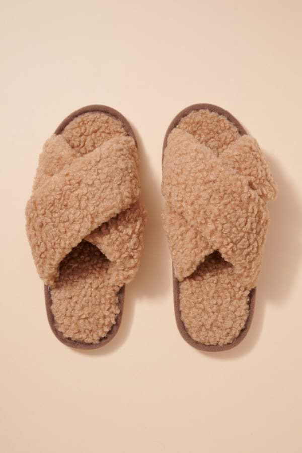 Teddy Sherpa Fur Slippers - Taupe - Front
