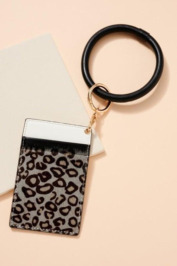 Animal Print Calf Hair ID Holder Key Ring - Grey - Front