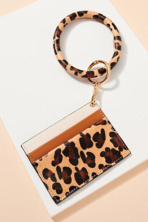 Animal Print Calf Hair ID Holder Key Ring - Beige - Front