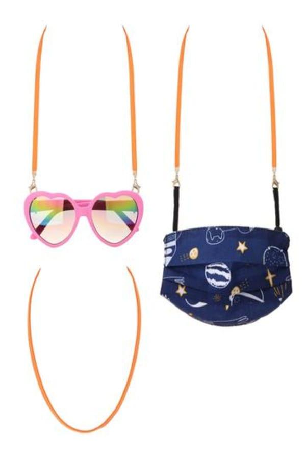 Suede Ribbon Mask Lanyards for Kids - Orange - Front
