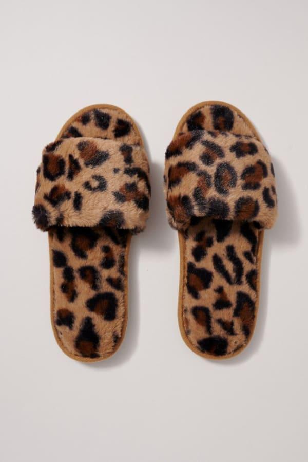 Animal Print Furry Slippers
