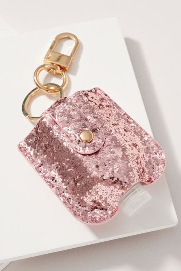 Christmas Theme Glittered Sanitizer Holder - Baby Pink - Front