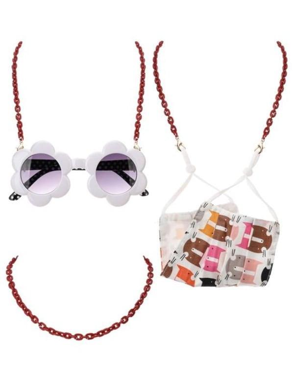 Acetate Link Chain Mask Lanyards Kids - Burgundy - Front