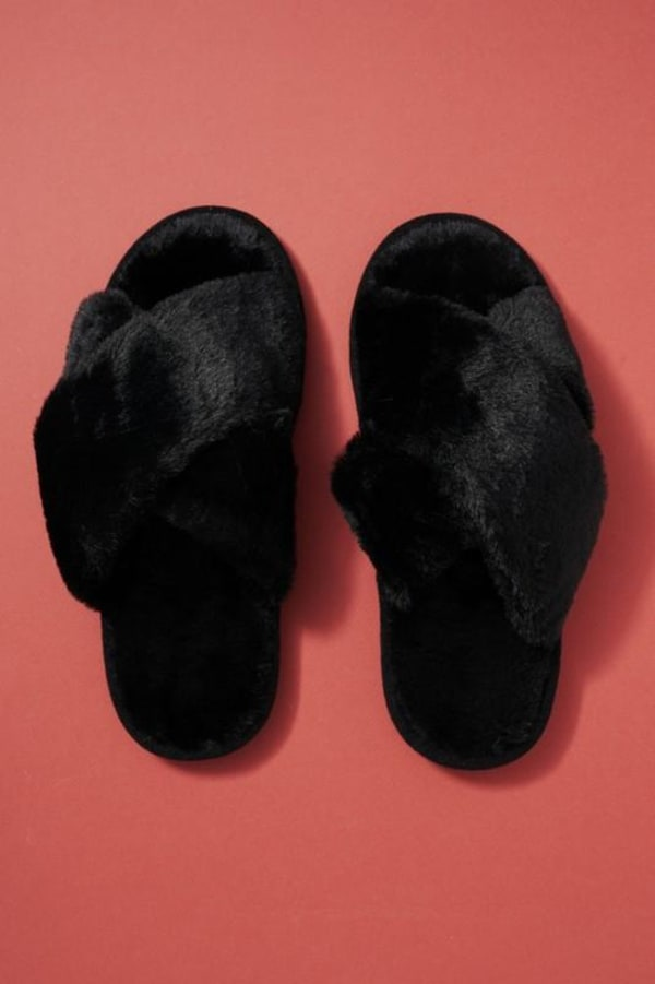 Solid Color Cross Furry Slippers - Black - Front