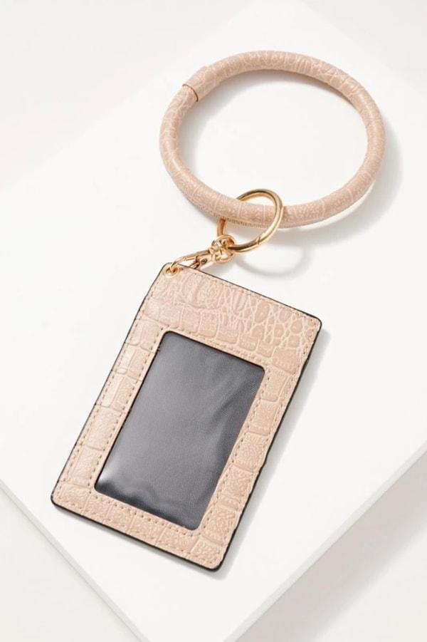 Croc Embossed Leather ID Holder Key Ring