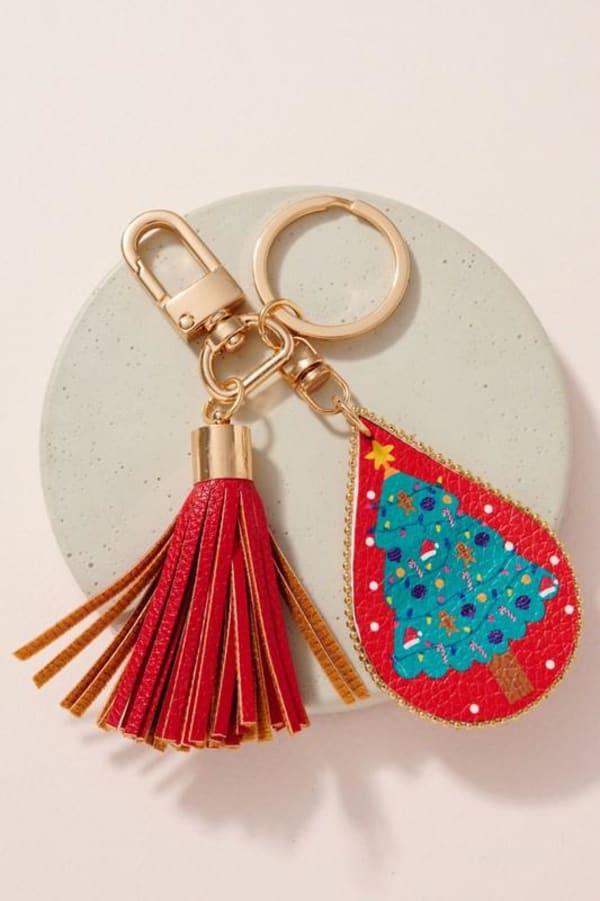 Christmas Theme PU Leather Key Chain