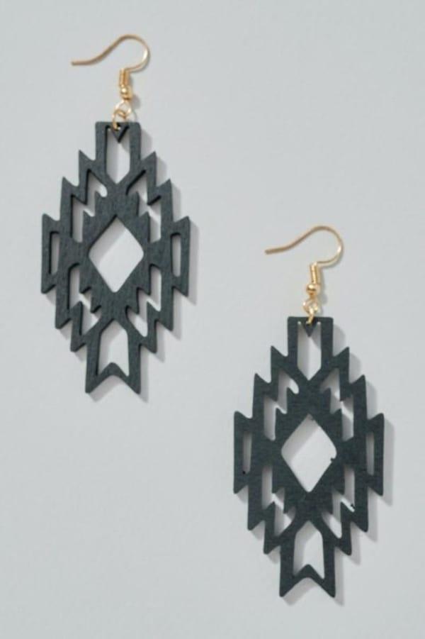 Aztec Cut Out Wooden Earrings