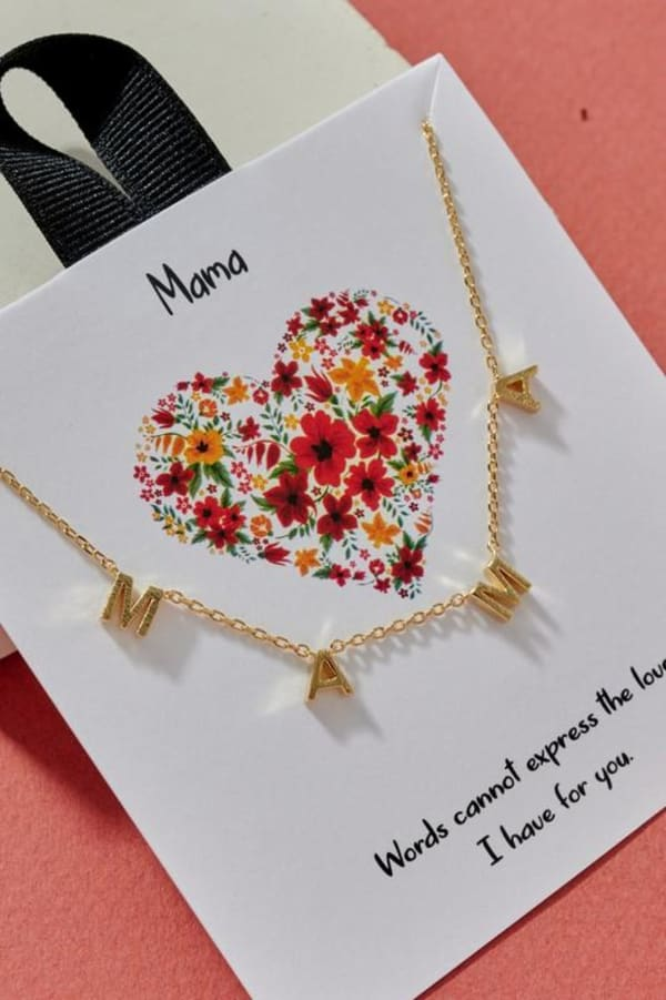 MAMA Letter Charm Gold Dip Necklace 18K Gold