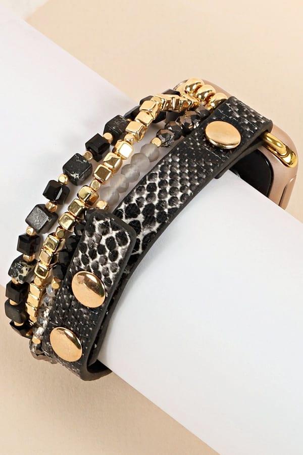 Python PU Leather Glass Beads iWatch Band Small