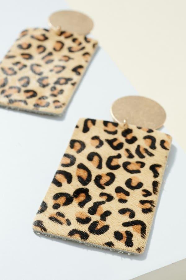 Animal Print Calf Hair Round Earrings