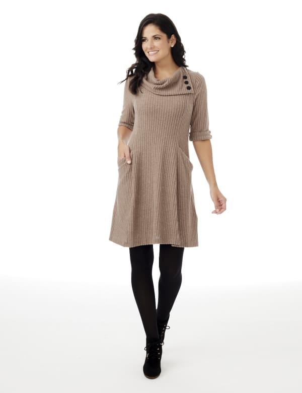 Split Cowl Neck Knit Dress - Misses - Mocha - Front