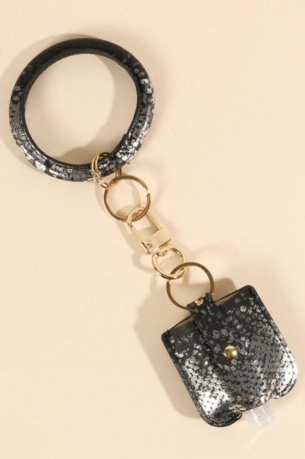 Snake Skin Print Leather Sanitizer Holder Key Ring