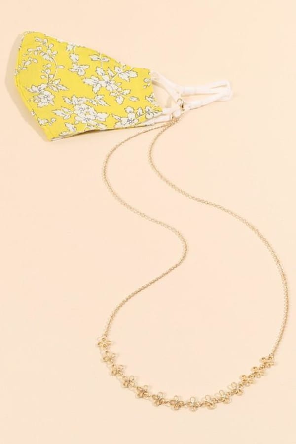 Floral Shaped Brass Chain Mask Lanyards