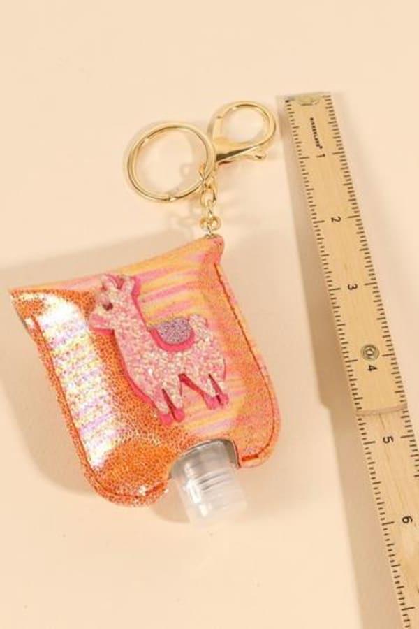 Llama Glitter Leather Kids Mini Sanitizer Holder