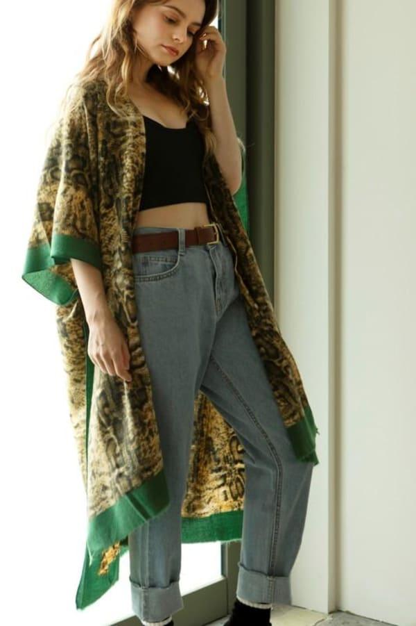 Snake Print Cozy Kimono - Green - Front