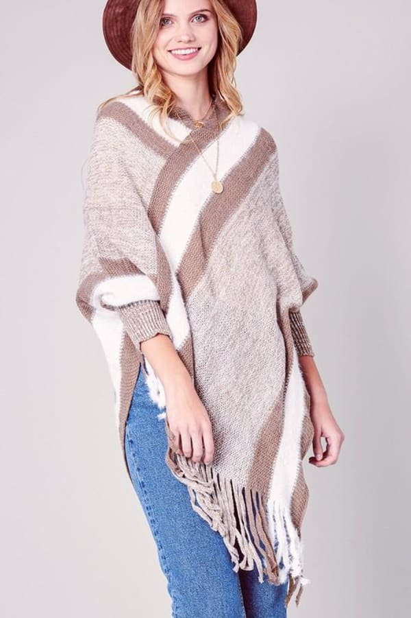Striped Knitted Fringed Poncho - Khaki - Front