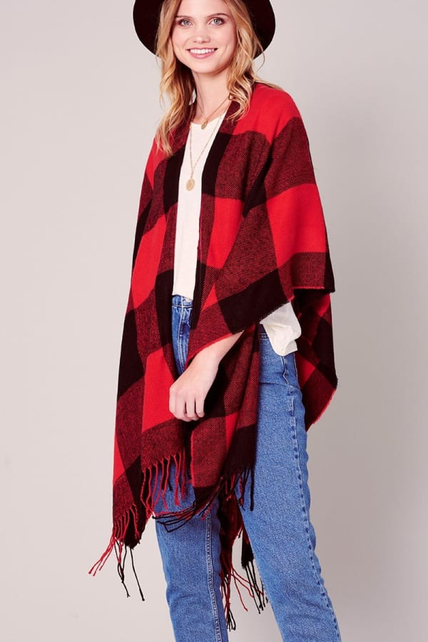 Buffalo Plaid Ruana with Fringe -Red-Black - Front