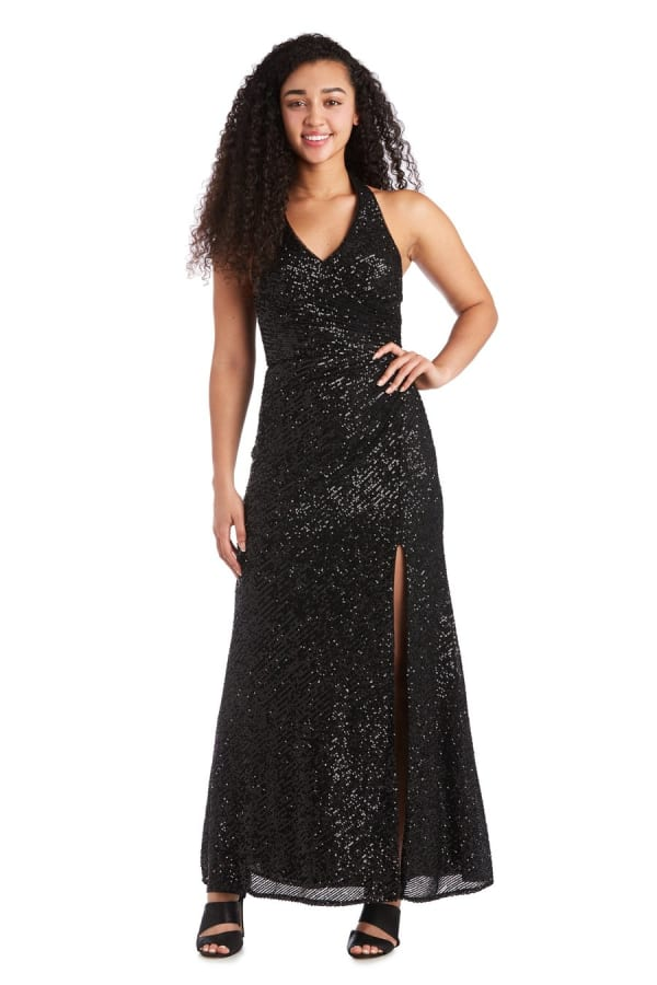 Morgan & Co. Long Stretch Sequin Mock Wrap Dress