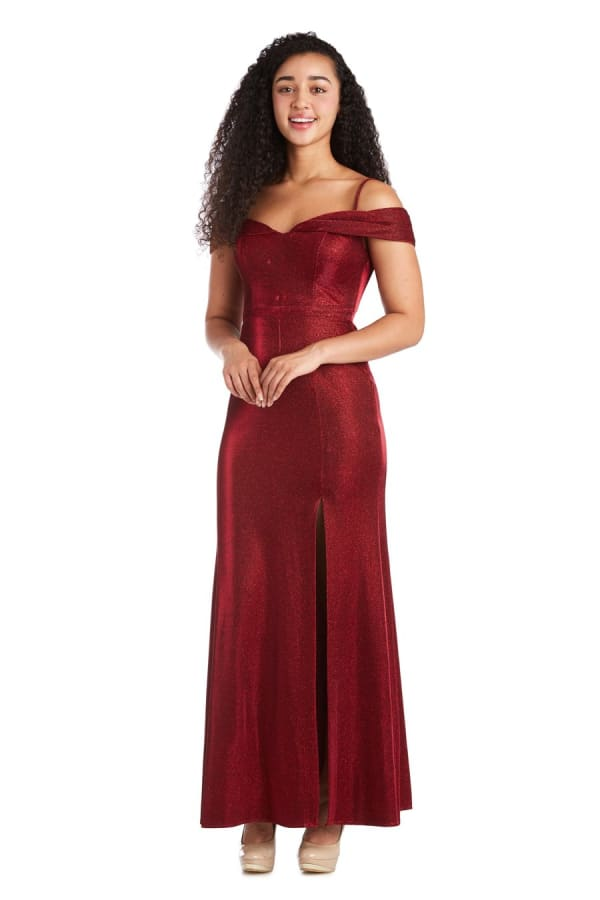 Morgan & Co. Long Shimmer Gown - Scarlet - Front