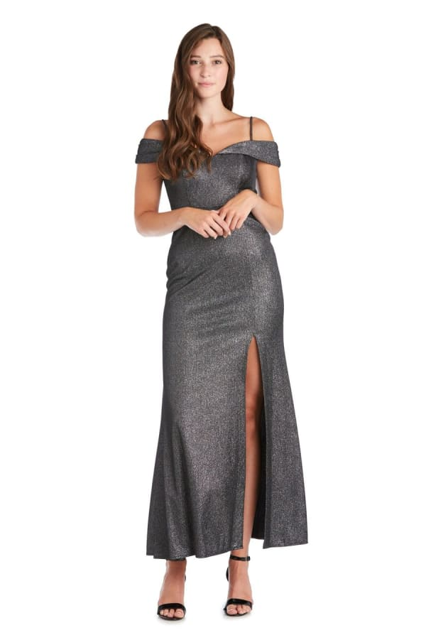 Morgan & Co. Long Shimmer Gown - Black / Silver - Front