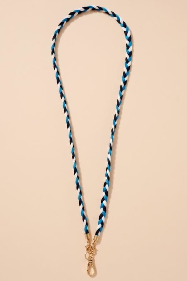 Cotton Braids Threads Mask Lanyards - Turquoise / Multi - Front