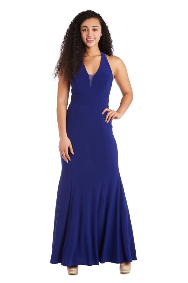 Morgan & Co. Long Gown with Open Back - Royal Blue - Front