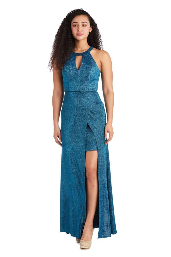Morgan & Co. Trendy Faux-Wrap Glitter Dress