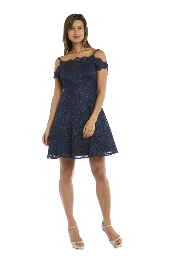 Morgan & Co. Cold-Shoulder Lace Fit & Flare Dress - Navy - Front