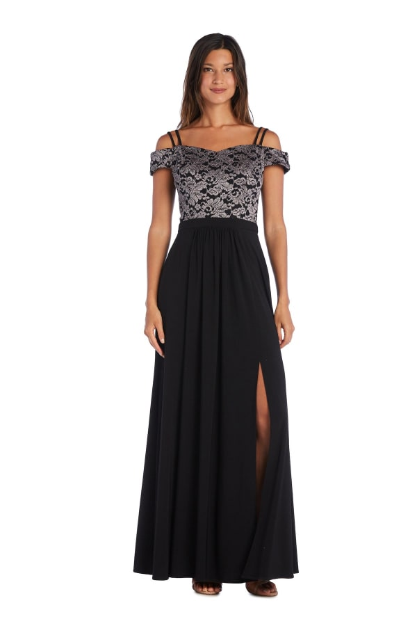 Morgan & Co. Off The Shoulder Lace Bodice - Black / Taupe - Front