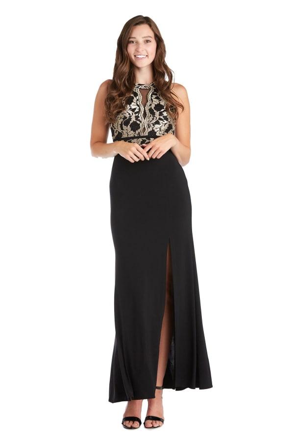 Morgan & Co. Scallop Lace Bodice Gown